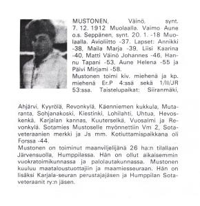 Väinö Mustonen sotahistoria Talvisota ja Jatkosota rajattu